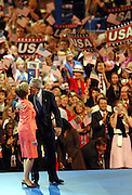 President George W. Bush kisses his wife, Laura after he excepted the nomination for President of the United States from the Repulican National Convention at Madison Square Garden in New York City on Sept. 2, 2004 Sandy Schaeffer/MAI Sandy Schaeffer Photography - Washington DC Photographer<br />