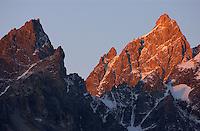 Sunrise on Teewinot Mountain and Grand Teton.
