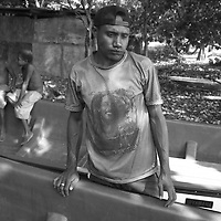 'Superhero' T-shirt fashion,  in Klampun villlage, East New Britain Island, Papua New Guinea,  Thursday 18th September 2008.