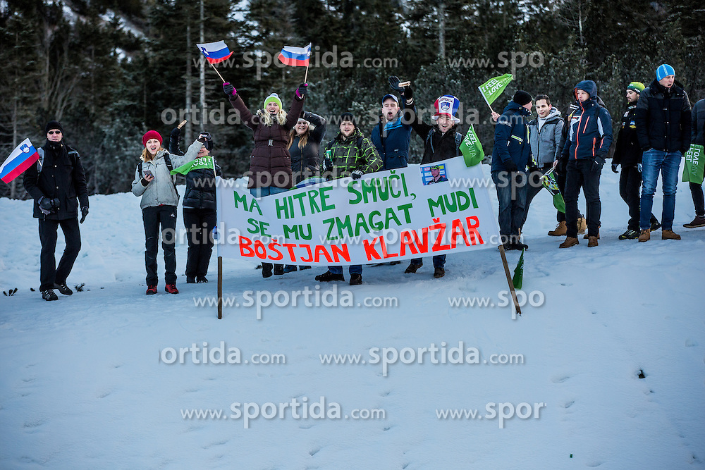 Fans of Bostjan Klavzar of Slovenia during Mans 1.2 km Free Sprint Qualification race at FIS Cross Country World Cup Planica 2016, on January 16, 2016 at Planica, Slovenia. Photo By Grega Valancic / Sportida