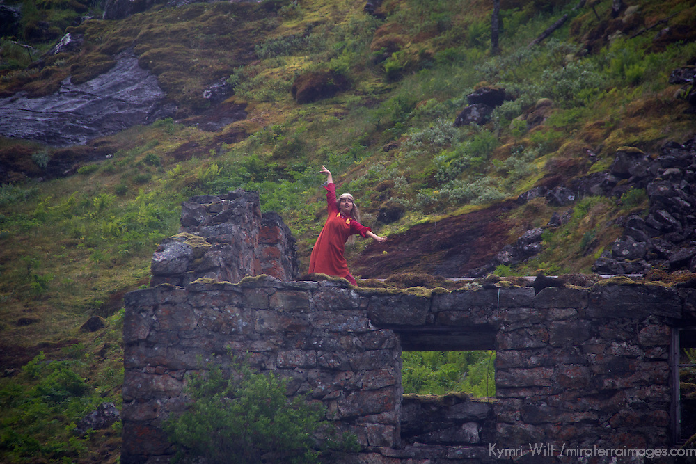 Europe, Norway, Flam. Huldra dancing at Kjosfossen Waterfall, on the Flam Line Railway.