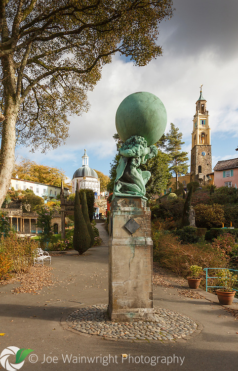 The Statue of Hercules, at Portmeirion, Gwynedd, with The Campanile and The Pantheon in the background.  Photographed in October.