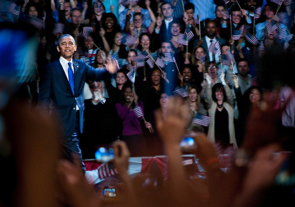 Barack Obama is reelected as president. .Election Night at the McCormick Place in Chicago