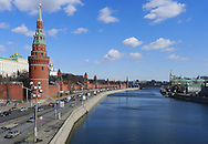 Kremlin Wall, Kremlin Towers, Kremlyovskaya Naberezhnaya, Moscow Russia.