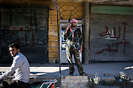 Syria. Members of Free Syrian Army stands guard in Haraan.  ALESSIO ROMENZI