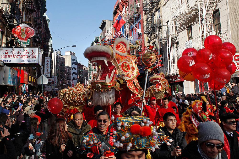 Lunar New Year Parade.  Chinatown, Manhattan