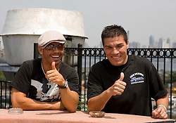 July 19, 2006 - Welterweight Champion Carlos Baldomir and challenger Arturo Gatti at the final press conference for their July 22nd fight.  The two will meet for Baldomir's title at Boardwalk Hall in Atlantic City, NJ.