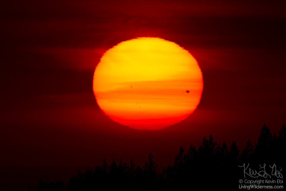 Venus is visible against the setting Sun in this view from Kings Canyon National Park, California. Venus, the second planet from the Sun, is visible as a black dot on the lower right corner of the Sun. The transit was visible from at least four continents and is the last until December 2117.
