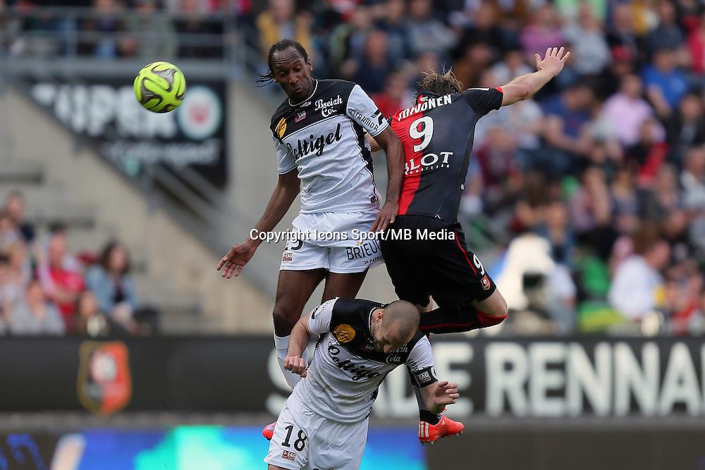 Jeremy SORBON / Ola TOIVONEN - 12.04.2015 - Rennes / Guingamp - 32eme journee de Ligue 1 <br />Photo : Vincent Michel / Icon Sport