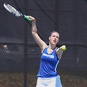 Charter School Of Wilmington Kellie Carison attempts to serve during a DIAA Tennis State final match Tuesday, May. 26, 2015 at UD Field House in Newark, DEL