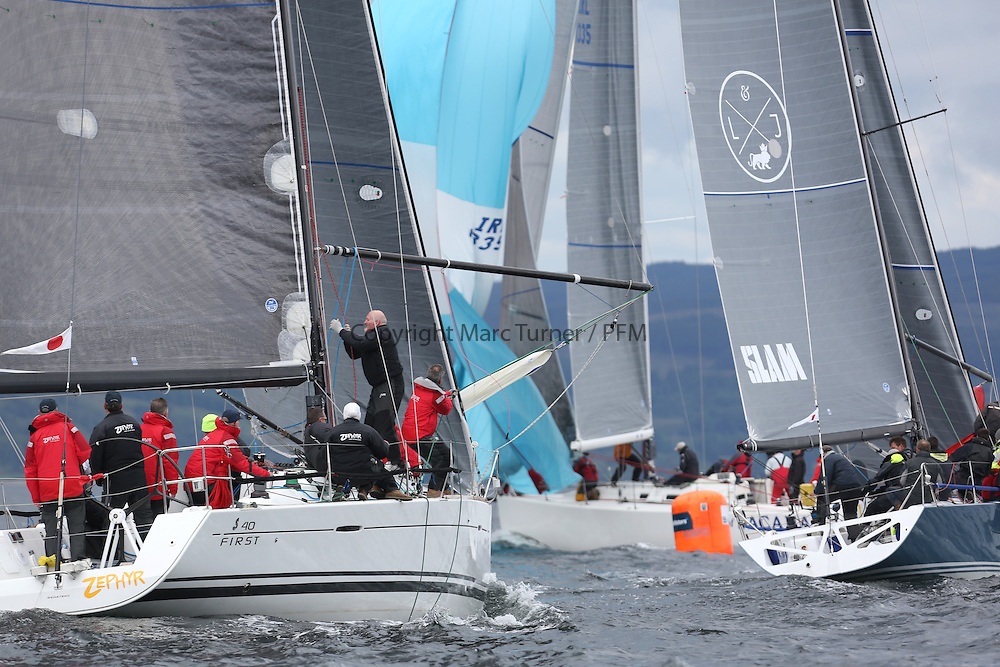 The Silvers Marine Scottish Series 2014, organised by the  Clyde Cruising Club,  celebrates it's 40th anniversary.<br /> Day 3, Class one action, GBR8140C ,Zephyr, S Cowie/ I Marshall, CCC/FYC/RGYC ,First 40, GBR7737R, Aurora, Rod Stuart / A Ram, CCC, Corby 37<br /> Racing on Loch Fyne from 23rd-26th May 2014<br /> <br /> Credit : Marc Turner / PFM