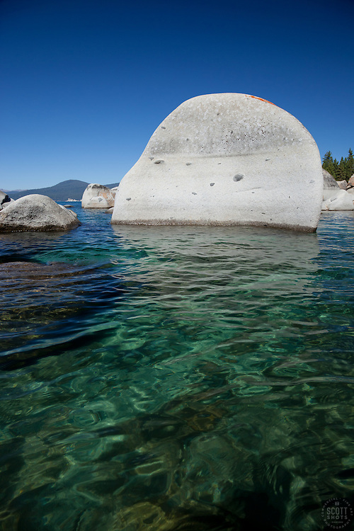 """Boulders at Lake Tahoe 7"" - These boulders were photographed from a kayak early in the morning at Lake Tahoe, near Speed Boat Beach."