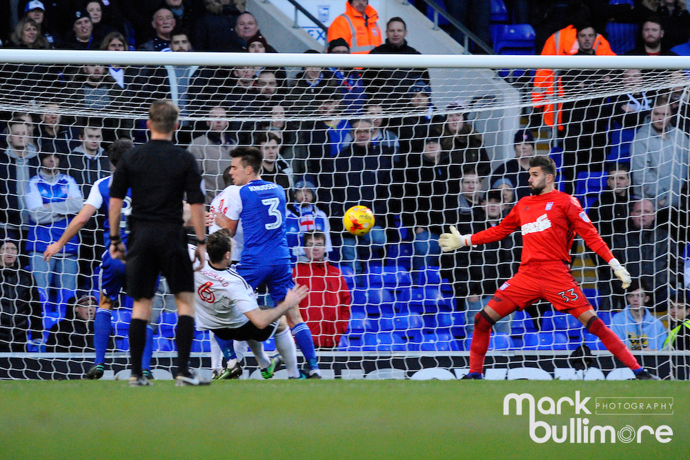Ipswich, Suffolk. Football action from Ipswich Town v Fulham at Portman Road in the Sky Bet Championship on the 26th December 2016. Ipswich Goalkeeper Bartosz Bialkowski  <br /> <br /> Picture: MARK BULLIMORE