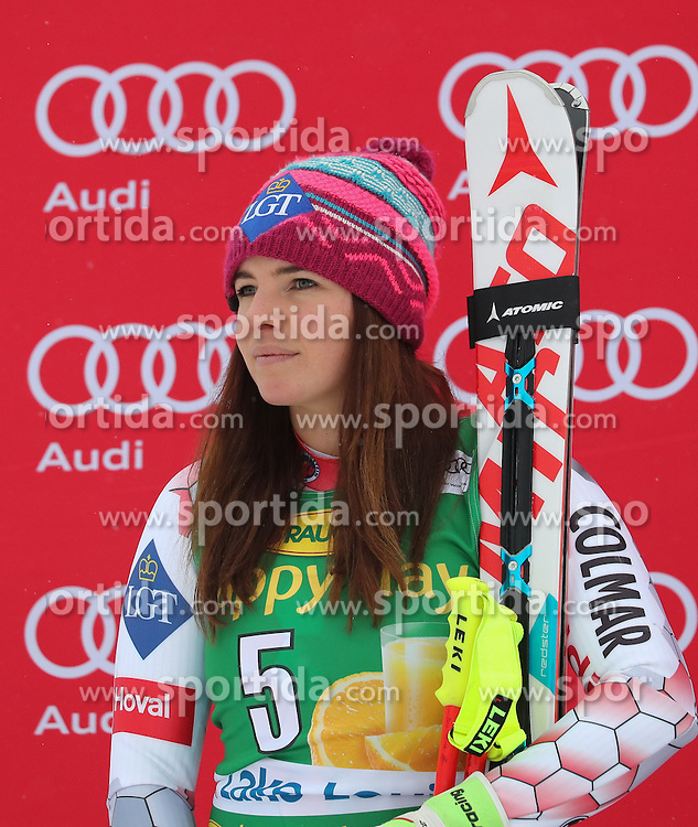 04.12.2016, Lake Louise, USA, FIS Weltcup Ski Alpin, Lake Louise, Super G, Damen, Siegerpr&auml;sentation, im Bild Tina Weirather (LIE, 2. Platz) // second placed Tina Weirather of Liechtenstein during the winner presentation for the women's SuperG of the Lake Louise FIS Ski Alpine World Cup at the Lake Louise, United States on 2016/12/04. EXPA Pictures &copy; 2016, PhotoCredit: EXPA/ SM<br /> <br /> *****ATTENTION - OUT of GER*****