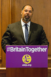© Licensed to London News Pictures.24/04/2017.London, UK. UKIP Education Spokesman David Kurten makes a part policy announcement at the Marriott County Hall in Westminster, London. Paul Nuttall recently announced plans to ban the burkha in the UKIP 2017 general election manifesto.Photo credit: Ray Tang/LNP