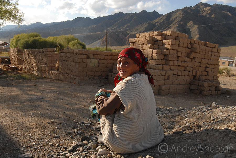 A portrait of a Kyrgyz old woman
