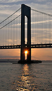 Sunset under Verrazano Narrows Bridge.