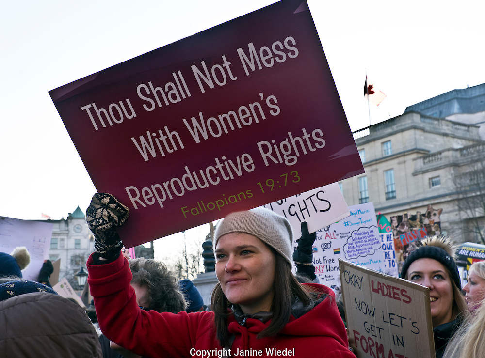 Womens march through London against President Donald Trump 21 Jan 2017 who became president yesterday