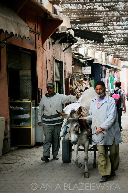 Morocco, Marrakesh. Two men and a donkey walking the street of the medina.