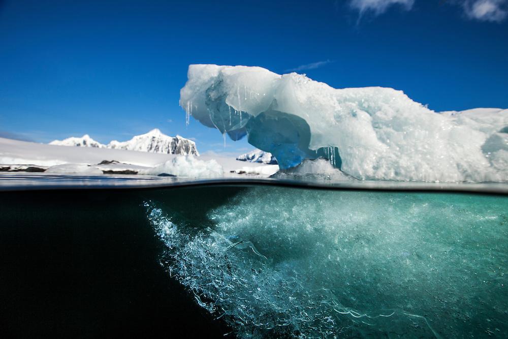 Antarctica, Underwater view of melting iceberg floating near Enterprise Island in Wilhelmina Bay