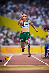 """BUSTAMANTE Perla of Mexico competes in the women's F42 Long Jump during the Beijing 2008 Paralympic Games; National """"Bird's Nest"""" Stadium, Beijing Olympic Green, China, 8th September 2008;"""