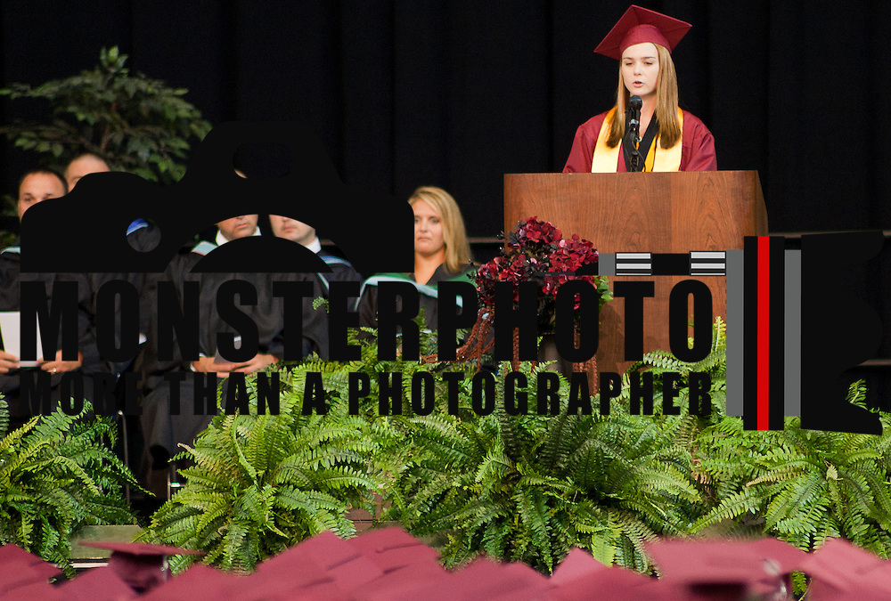 06/13/12 Newark DE: Salutatorian Kacieliegh Schmeck addresses her fellow classmates during commencement exercises Wednesday, June 13. 2012, at The Bob Carpenter Center in Newark Delaware...Special to The News Journal/SAQUAN STIMPSON