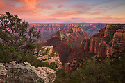 Sunset on Vishnu Temple and Freya Castle. From the North Rim of Grand Canyon National Park.