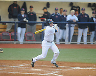 Ole Miss' Preston Overbey (1) drives in a run vs. Memphis at Oxford-University Stadium in Oxford, Miss. on Tuesday, February 26, 2013. Memphis won 4-3. Ole Miss falls to 7-1.
