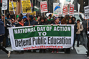 4 March 2010- New York, NY- Atmosphere at The National Day of Action to Defend Public Education Protest and March held on March 4, 2010 on the corner of East 40th and and Third Ave in New York City.