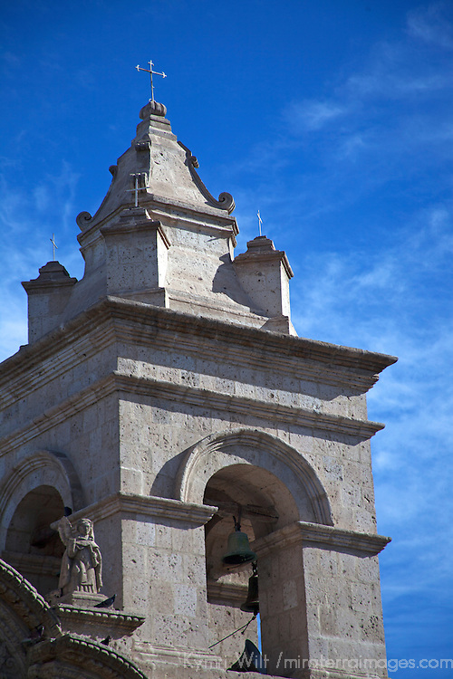 South America, Peru, Arequipa. Bell Tower of San Juan de Yanahuara Church in Arequipa.