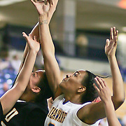 Delaware Sophomore Guard (#3) Jaquetta May grabs the rebound during VCU delaware game at the The Bob Carpenter Center In Newark Delaware Thursday Night.