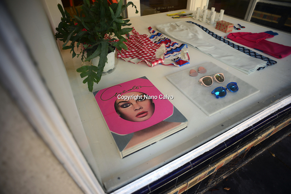 Negarin London fashion store display window in Russian Hill area, San Francisco