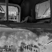 Rusted Truck Cab Door - Motor Transport Museum - Campo, CA - Black & White