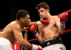 March 10, 2007 - New York, NY - Shamone Alvarez knocks out Travis Hartman in the second round of their bout at the Theater at Madison Square Garden in New York City.