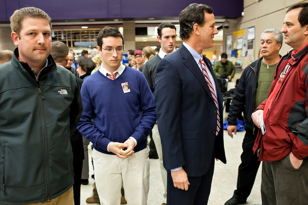 Republican presidential candidate Rick Santorum makes a campaign stop at a caucus site at Summit Middle School on Tuesday, January 3, 2012 in Johnston, IA.