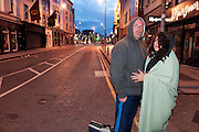 Paul and Mary from the Occupy Galway protest heading off to find somewhere else to stay after being ejected from the protest village in Eyre Square Galway. Photo:Andrew Downes