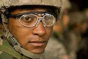 U.S. Army Private  Louis VonPatterson listens to a safety brief on the bayonet assault course at Fort Jackson, S.C., on October 23, 2008.