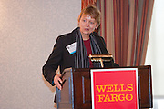 Nancy Ploeger, President of MCC, delivers closing remarks at the 2011 Manhattan Chamber of Commerce Annual Economic Outlook Breakfast. held at the New York Athletic Club in New York on April 4, 2011. The breakfast was sponsored by Wells Fargo.