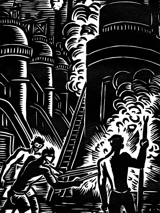 A black / white drawing of a steel factory