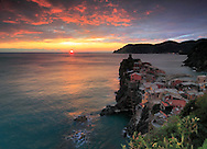 A  view at sunset of Vernazza, one of the five medieval villages of the Ligurian coast altogether known as Cinque Terre.