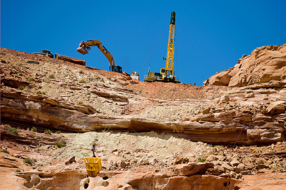 082411       Brian Leddy.The Skyline Mine reclamation project operates at the top of Oljato Mesa near Monument Valley, Utah on Wednesday. The project is hauling uranium contaminated soil back to the top of the mesa after years of being deposited at the bottom of the mesa.