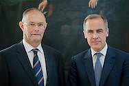 Governer of the Bank of England Mark Carney visits RHASS, Ingliston, Edinburgh.<br />  Pictured - Keith Brook, Chairman RHASS, Gov Mark Carney
