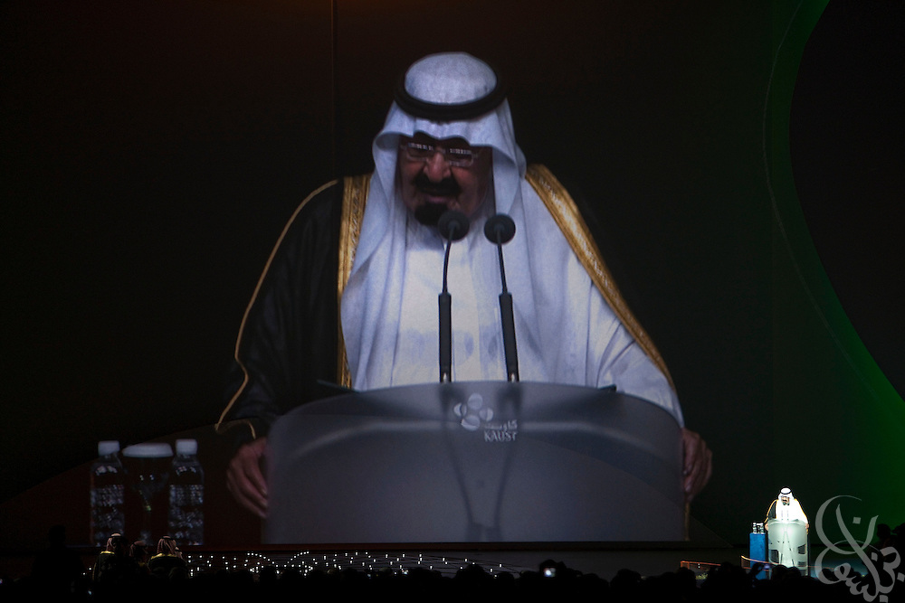 King Abdullah Bin Abdulaziz Al Saud, Custodian of the Two Holy Mosques, addresses guests during the inauguration of King Abdullah University of Science and Technology (KAUST) on September 23, 2009, in Thuwal, Saudi Arabia (80 kilometers north of Jeddah). KAUST is a graduate-level research institution that has attracted top scientists and students from around the world.