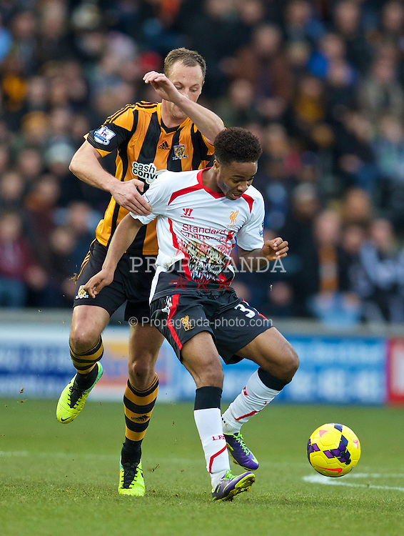 HULL, ENGLAND - Sunday, December 1, 2013: Liverpool's Raheem Sterling in action against Hull City during the Premiership match at the KC Stadium. (Pic by David Rawcliffe/Propaganda)