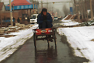 An elderly man is driven on the back of a bicycle in the town of Huji in the province of Shandong, China, Friday, Jan. 28, 2011. Despite record cotton prices last year, some farmers are storing their harvest of cotton and are holding out for even higher prices, hoping to help overcome higher costs of fertilizer and labor, which have both risen 20% in the past year..CREDIT:Keith Bedford for The Wall Street Journal.Slug: COTTON