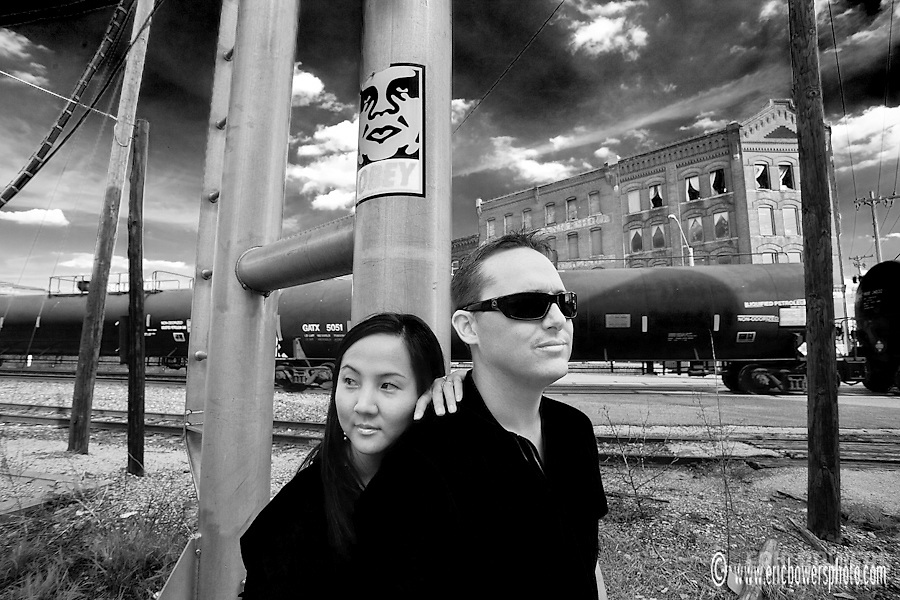 Engagement photography in the West Bottoms of KCMO for Jeff Hamilton and Vivian Kim.