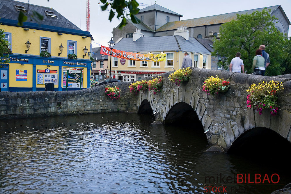 Westport city and Carrowbeg river. <br /> County Mayo. Republic of Ireland.