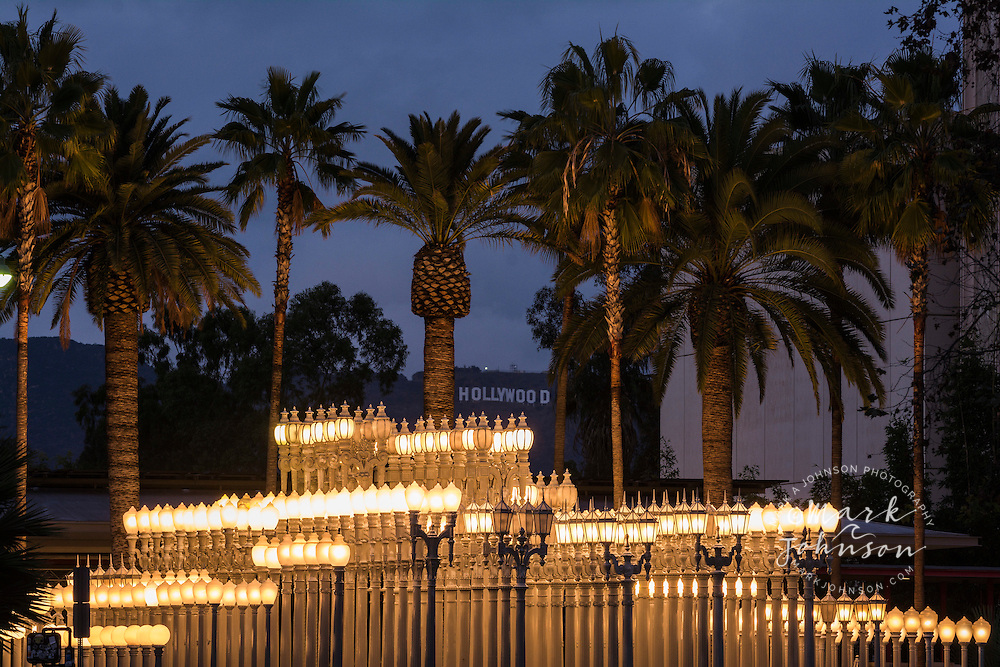 """Urban Light"", modern art installation outside the Los Angeles County Museum of Art, Wilshire Blvd., Los Angeles, California, USA"