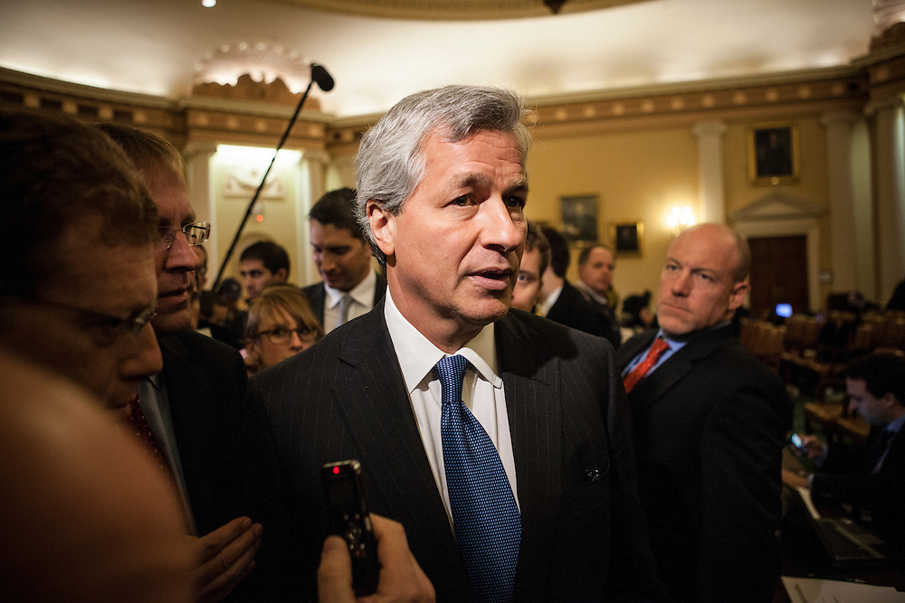 JP Morgan Chase CEO Jamie Dimon talks to reporters after testifying before the Financial Crisis Inquiry Commission on January 13, 2010 in Washington, DC. The Congressionally-appointed panel held its first hearing to investigate the causes of the recent financial crisis.