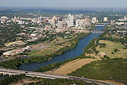 Lady Bird Lake on the Colorado River flows toward Austin, TX